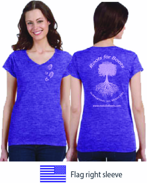 Roots purple V-neck tee